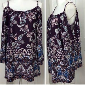 BAILEY BLUE Cold Shoulder Dress Purple Floral S